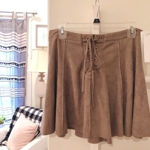 Design Lab | Brown Suede Skirt